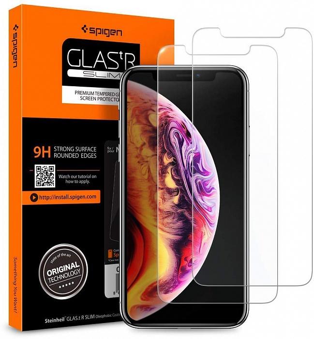 Защитное стекло SGP Glas.tR SLIM 2 pack для iPhone Xs Max, прозрачный