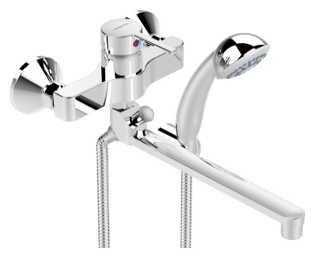 Смеситель Vidima Видима Логик для ванны и душаBA280AAVidima. Смеситель для ванны и душа Логик, настенный,трубчатый поворотный излив 320мм, лейка 70мм, держатель, хром, BA281АA