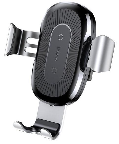Держатель для телефона Baseus Wireless Charger Gravity Car Mount, серебристый