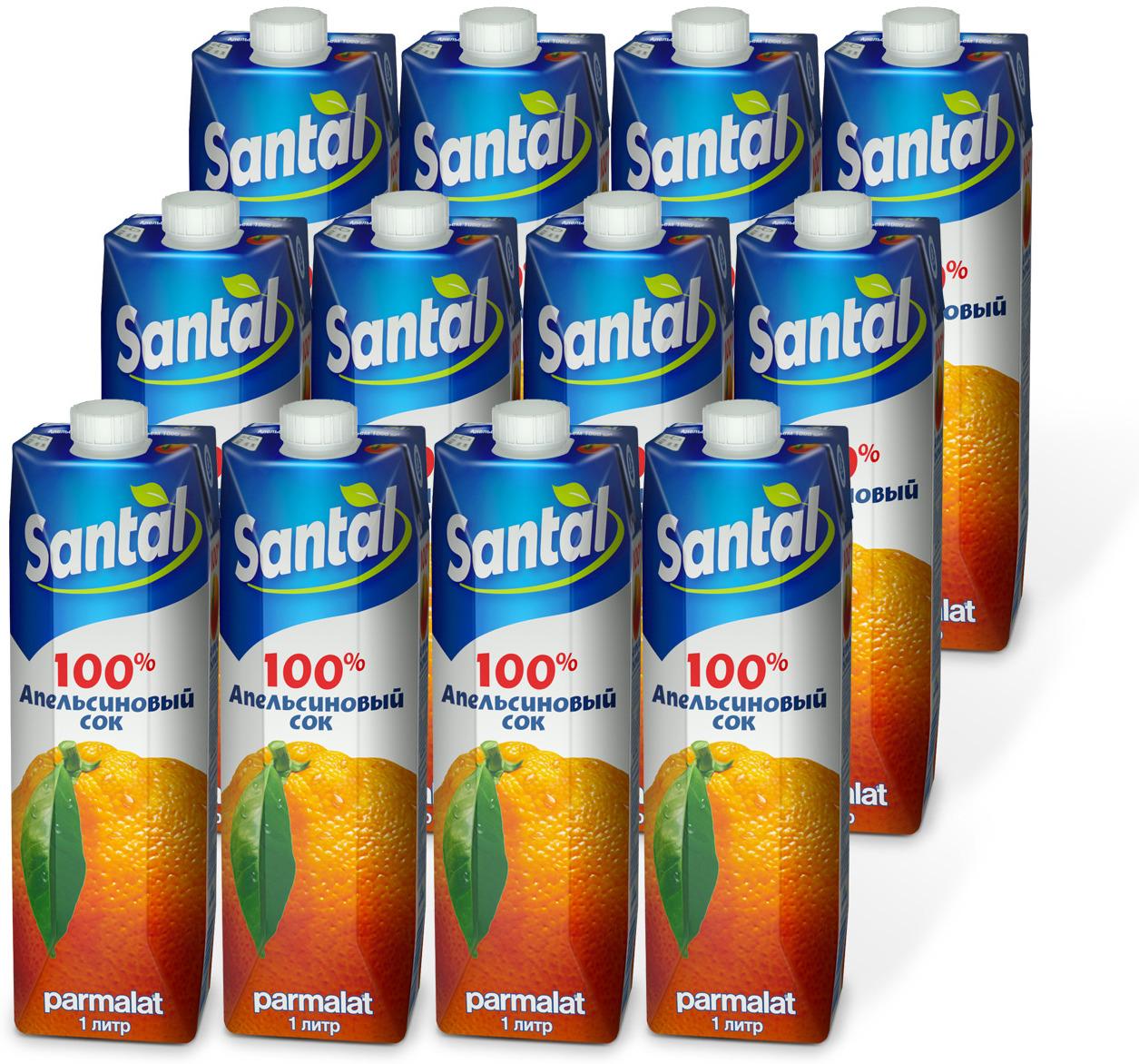Сок Santal Апельсиновый, 12 шт по 1 л