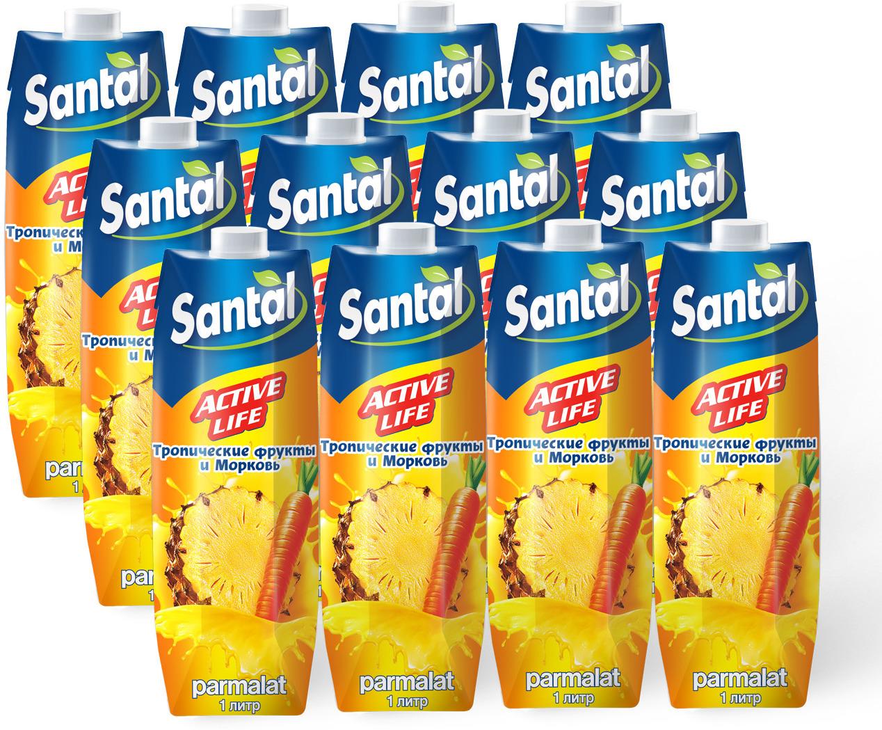 Нектар Santal Active Life Тропик - Морковь, 12 шт по 1 л santal нектар клубничный 1 л