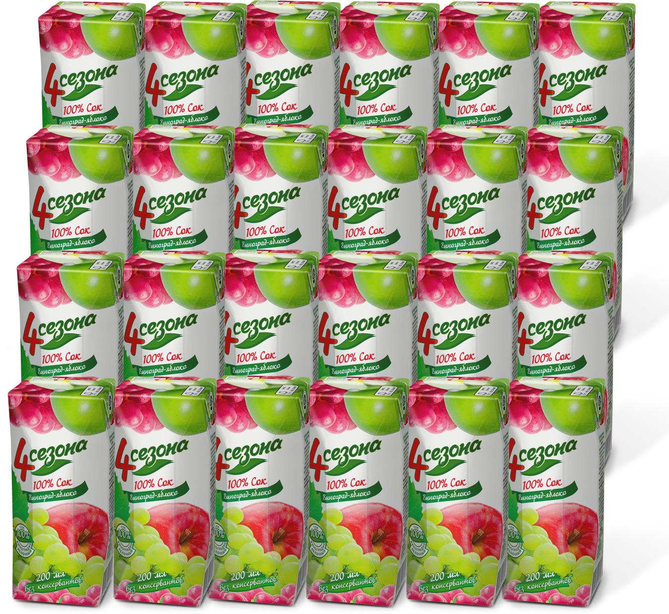 Сок 4 Seasons Виноградно-яблочный, 24 шт по 200 мл