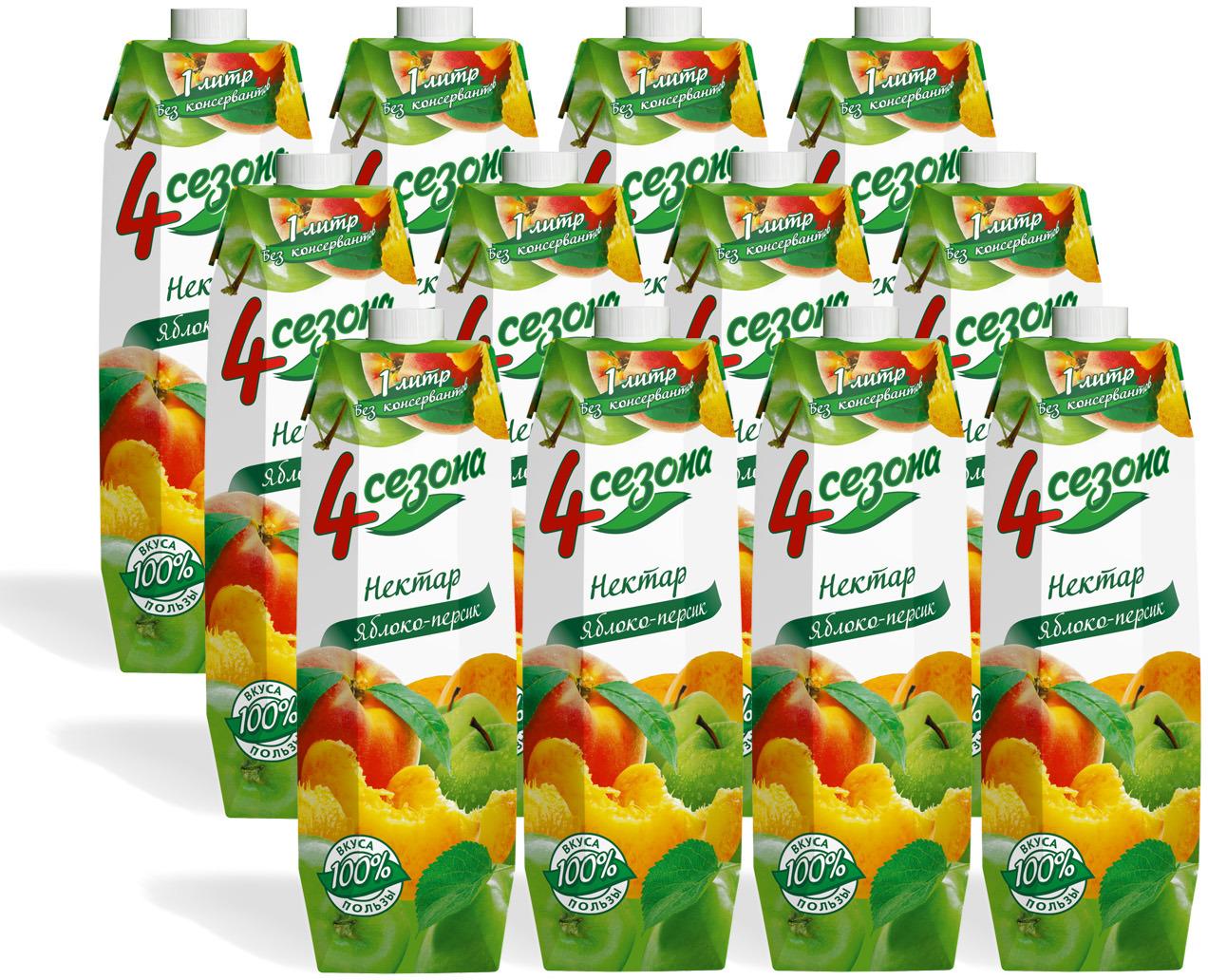 Нектар 4 сезона Яблоко - Персик, 12 шт по 1 л