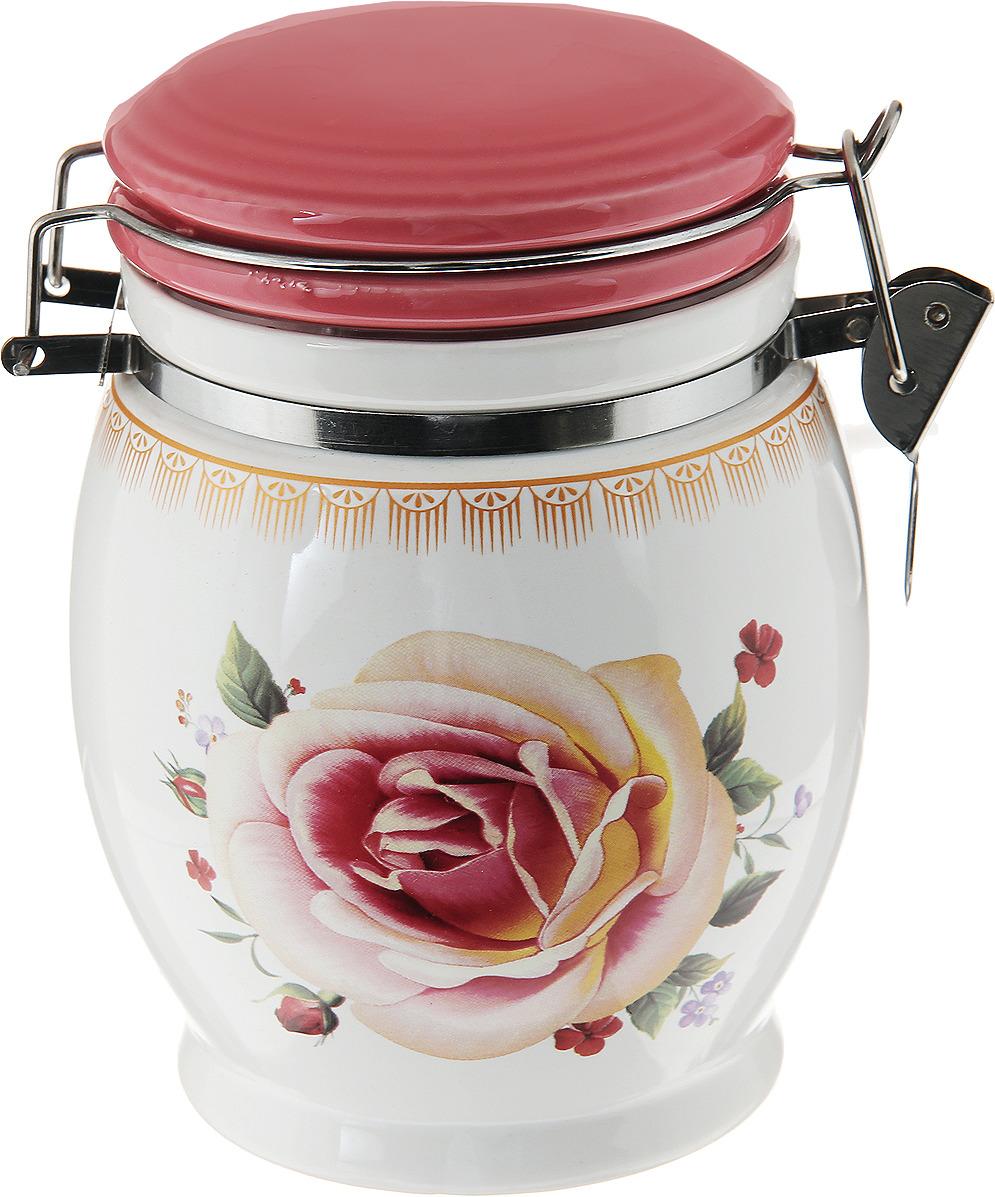 банка для сыпучих продуктов loraine розы и бабочка 750 мл Банка для сыпучих продуктов Loraine Розы, 27742, белый, желтый, розовый, зеленый, 700 мл