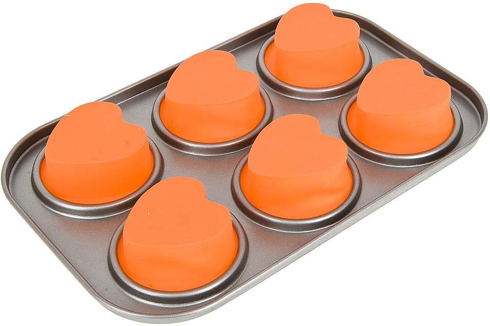 цена на Набор Best Home Kitchen Форма для выпечки, серебристый, 19 х 28,5 х 3 см, 6 ячеек, 4330032
