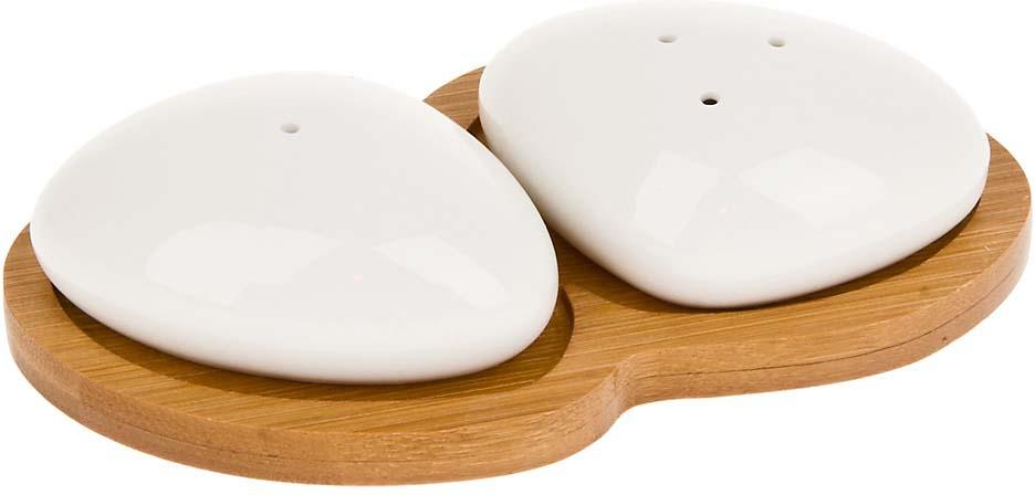 Набор для специй Best Home Porcelain Naturel, на подставке, 2640348, белый, коричневый, 3 предмета набор для специй best home porcelain naturel 3 предмета