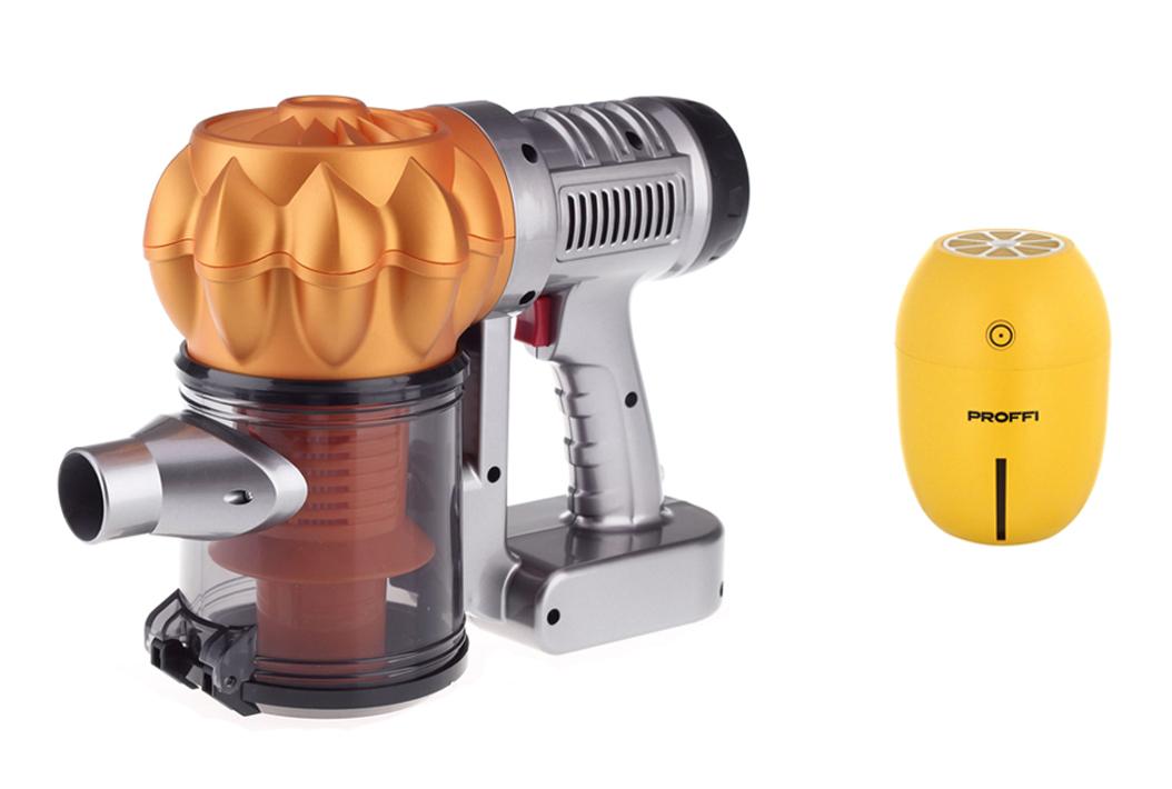 Увлажнитель воздуха PROFFI ультразвуковой, с USB и автомобильный пылесос Colibri c 3-мя насадкам, с удлинителем шланга, желтый Proffi