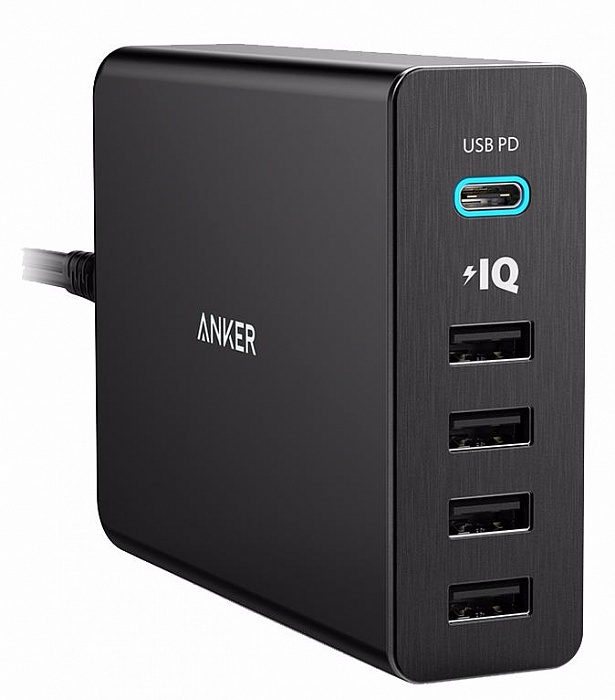 Зарядное устройство ANKER PowerPort+ 5 USB-C, A2053G11, черный цена и фото