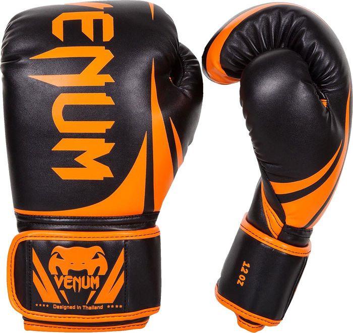 Боксерские перчатки Venum Challenger 2.0, черный, оранжевый, вес 12 унций