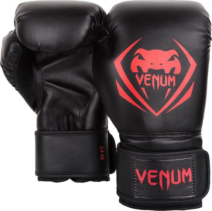 Боксерские перчатки Venum Contender, черный, красный, вес 14 унций