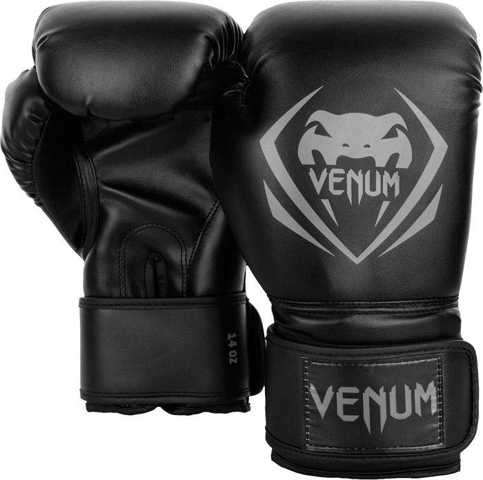 Боксерские перчатки Venum Contender, черный, серый, вес 14 унций