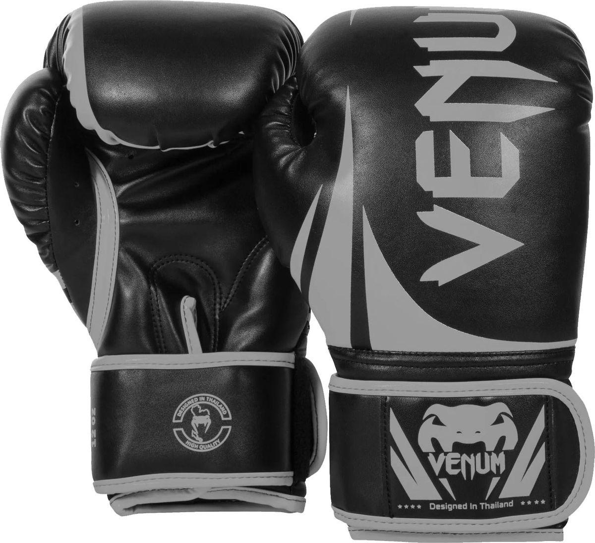 Боксерские перчатки Venum Challenger 2.0, черный, серый, вес 12 унций