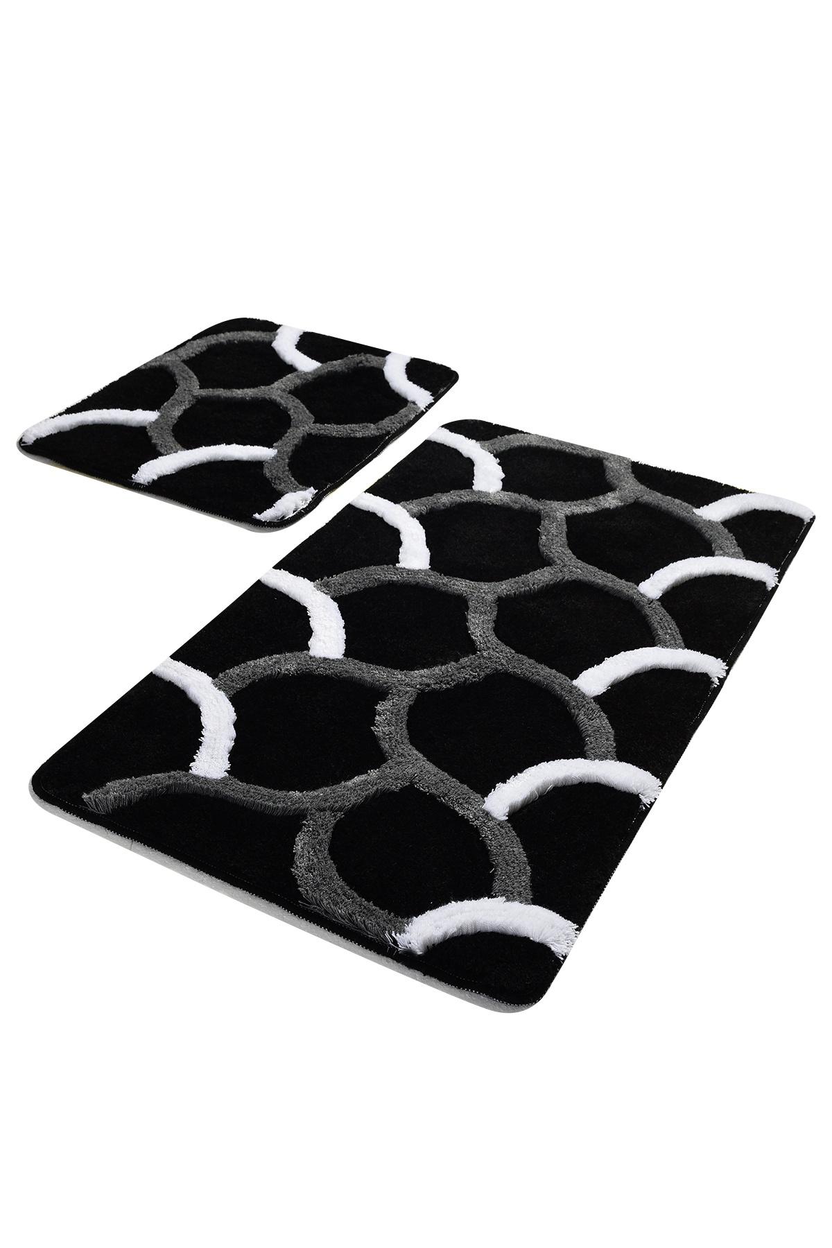 Набор ковриков для ванной DO&CO Коврик для ванной ELEGANT_черный, черный