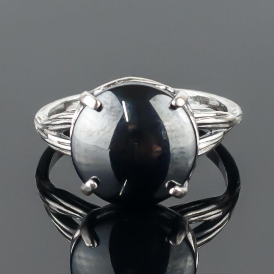 Кольцо бижутерное Мастерская Крутовых мк-8000_р.17,5, Бижутерный сплав, Гематит, 17,5, серый