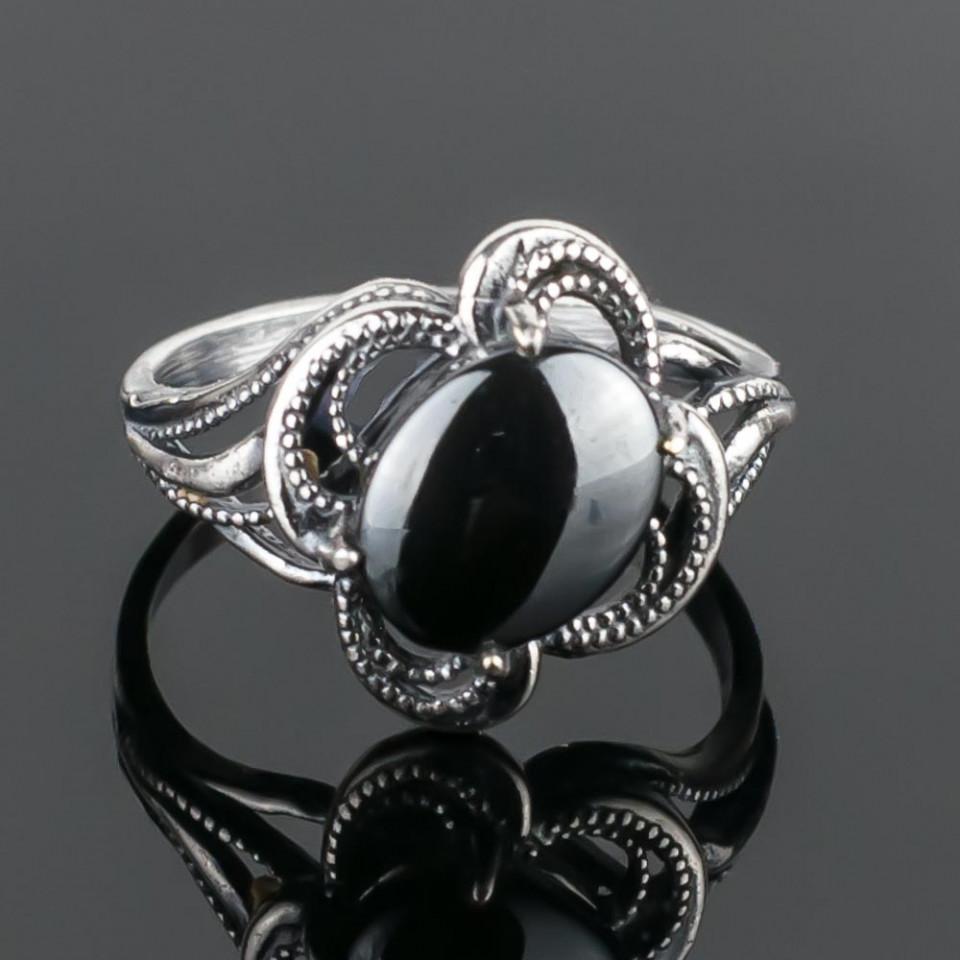 Кольцо бижутерное Мастерская Крутовых мк-8156_р.18,5, Бижутерный сплав, Гематит, 18,5, серый