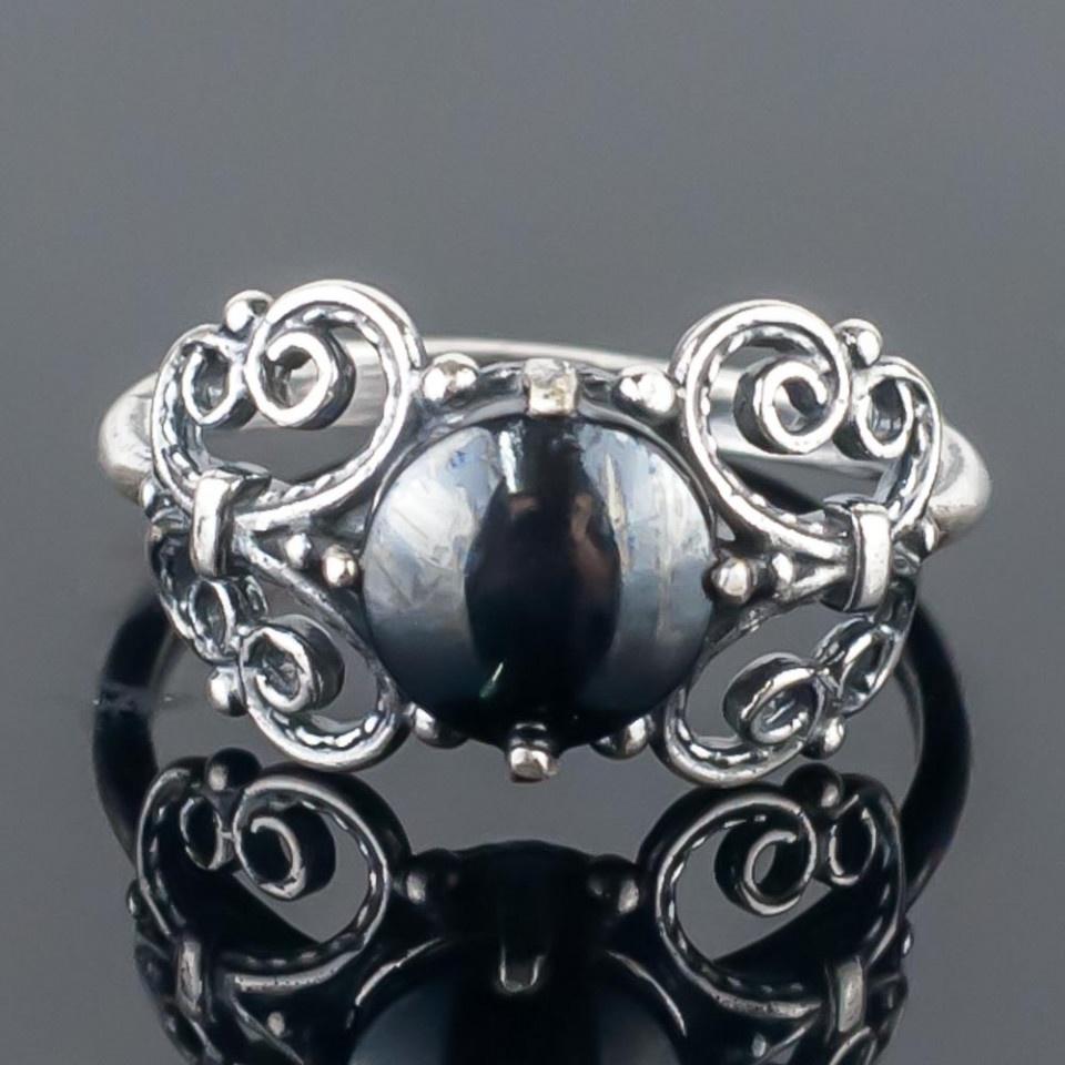 Кольцо бижутерное Мастерская Крутовых мк-8060_р.17,5, Бижутерный сплав, Гематит, 17,5, серый