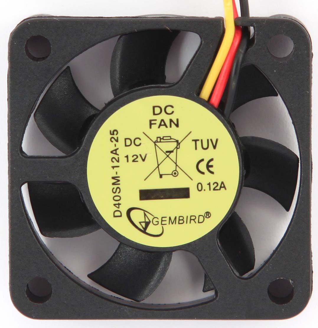 Вентилятор компьютерный Gembird, втулка, 3 pin, 4 х 4 х 1 см, провод 25 см, черный вентилятор мощный