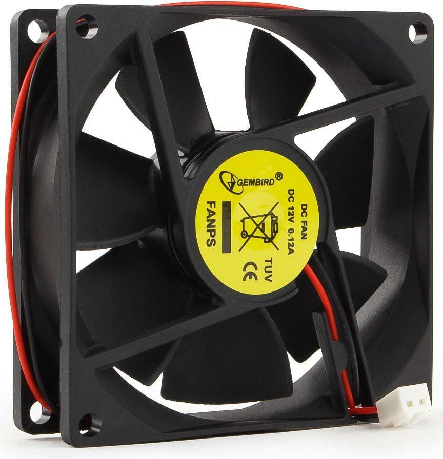 Вентилятор компьютерный Gembird, втулка, 2 pin, 8 х 8 х 2,5 см, провод 30 см, черный вентилятор мощный