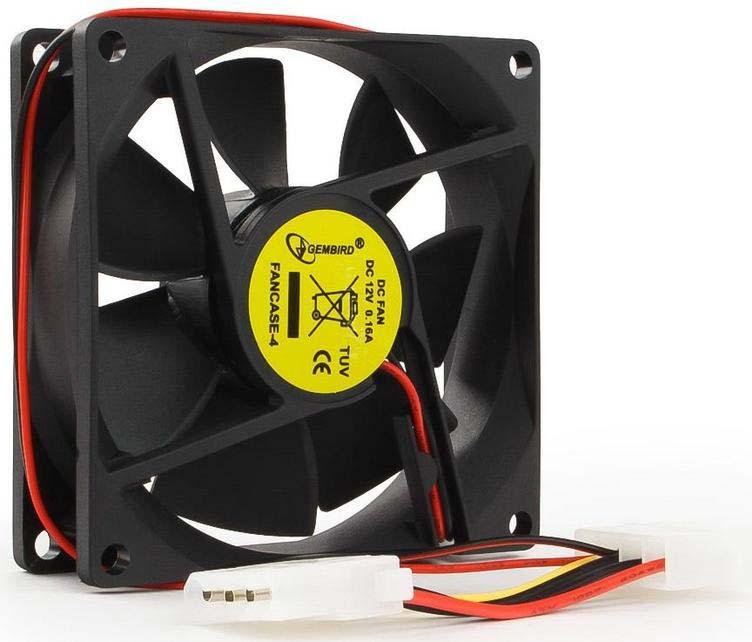 Вентилятор компьютерный Gembird, втулка, 4 pin Molex, 8 х 8 х 2,5 см, провод 30 см, черный