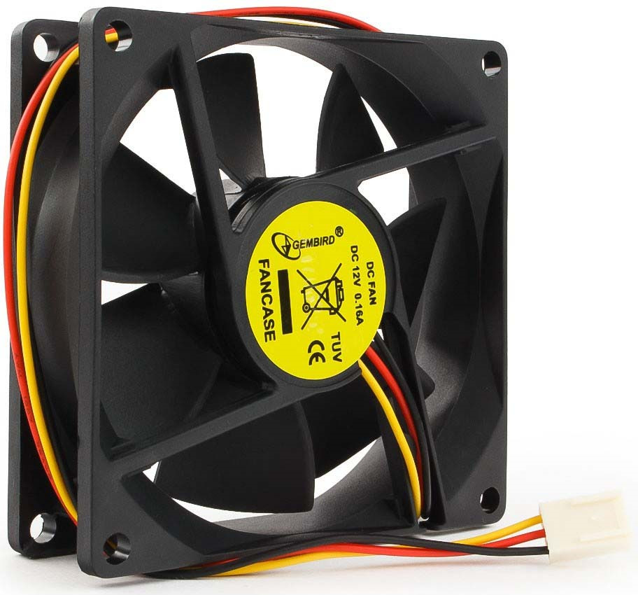 Вентилятор компьютерный Gembird, втулка, 3 pin, 8 х 8 х 2,5 см, провод 30 см, черный вентилятор мощный