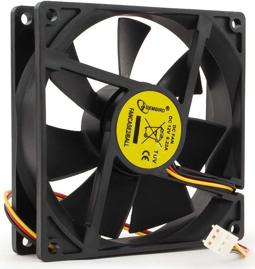 Вентилятор компьютерный Gembird, подшипник, 3 pin, 9 х 9 х 2,5 см, провод 30 см, черный вентилятор gembird fancase2 ball 90x90x25 3pin