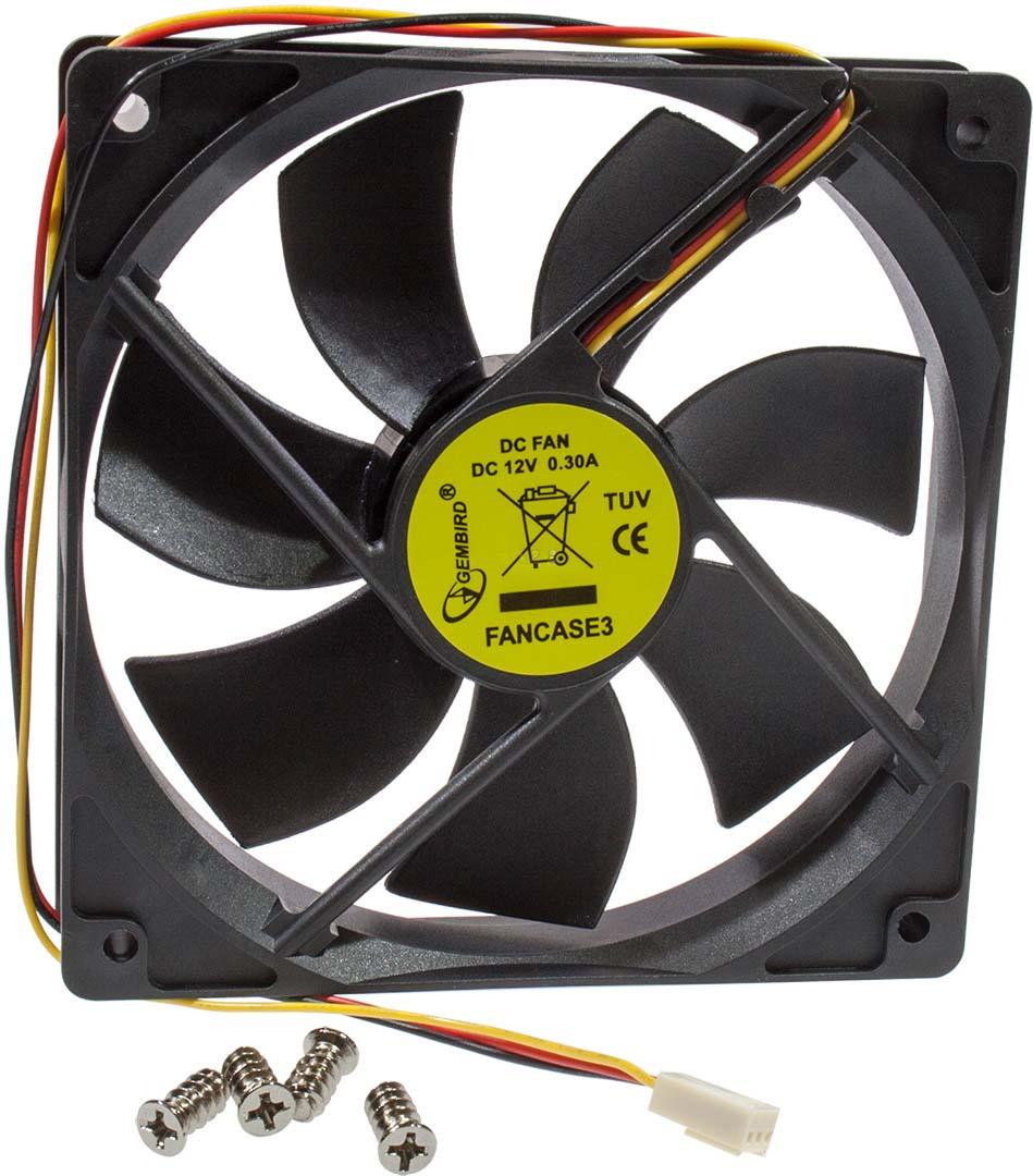 Вентилятор компьютерный Gembird, втулка, 3 pin, 12 х 12 х 2,5 см, провод 30 см, черный вентилятор мощный