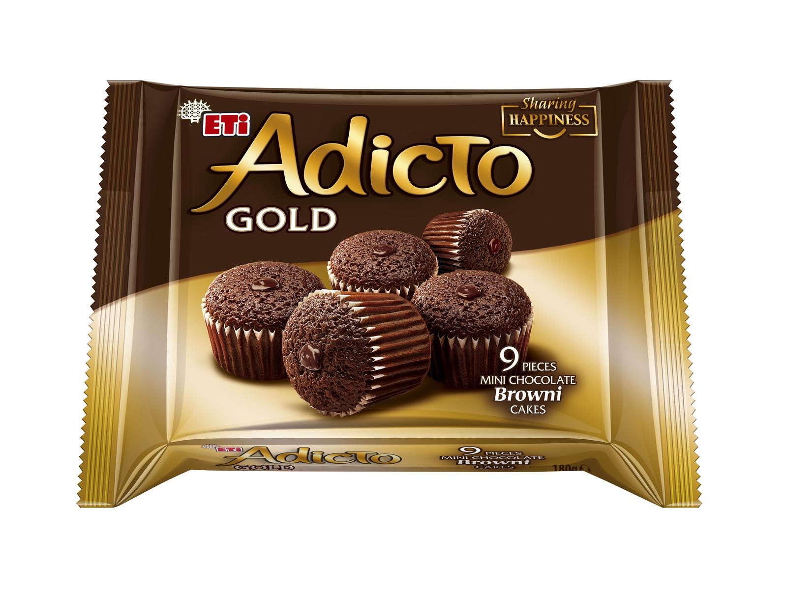 Мини Кексы Adicto Gold Cacao шоколадный с шоколадным кремом, 9х20 г ETI