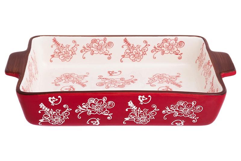 Блюдо для запекания Elan Gallery Цветочная симфония, белый, красный блюдо для запекания elan gallery цветочная симфония цвет красный 1 6 л