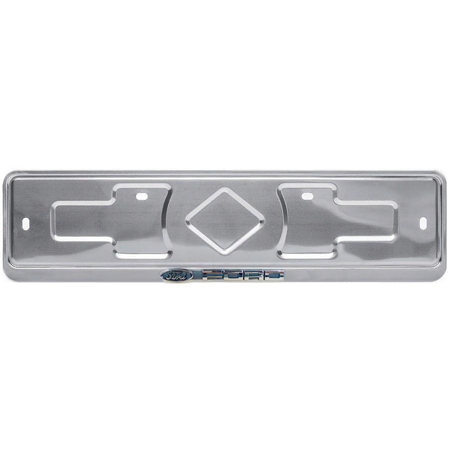 Рамка госномера Дельта ПРО FORD, нержавеющая сталь, серебро, рельефная надпись хромAB-029-FOРамка предназначена для фиксации номерного знака к автомобилю. Защищает кузов автомобиля от нежелательного контакта с номерным знаком. Улучшает эстетический вид автомобиля. Соответствует российско-европейскому размеру номерного знака. В комплекте присутствуют противошумные прокладки для устранения посторонних звуков.