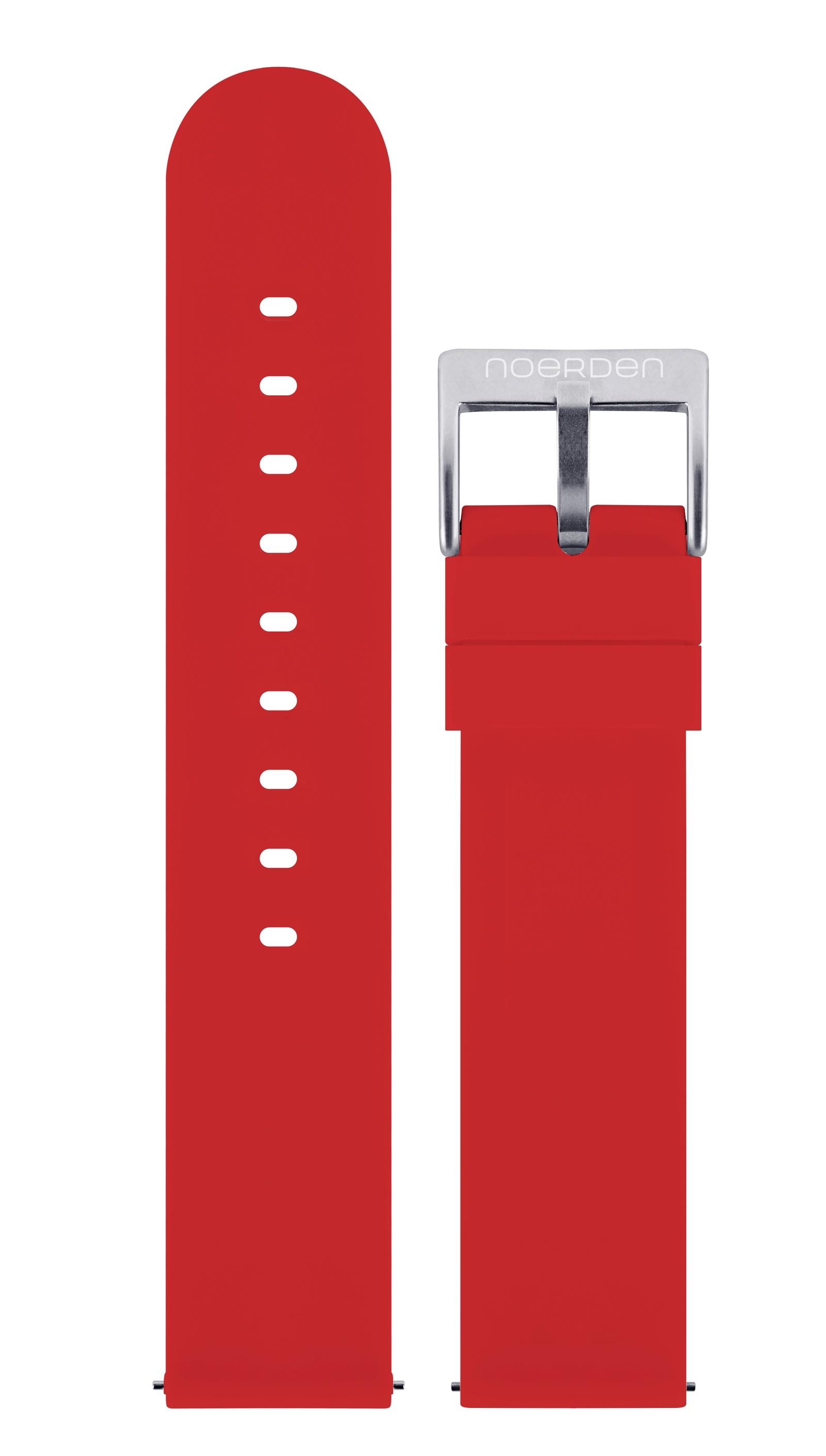 Ремешок для смарт-часов Noerden Универсальный 20 мм, силиконовый, PAB-0006, красный mango life2