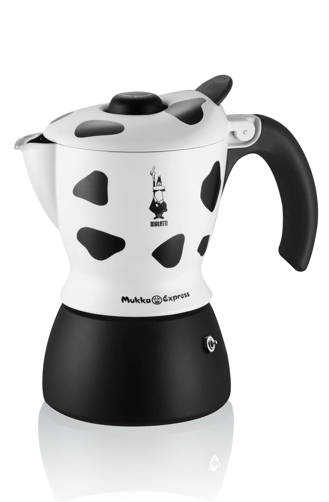 Гейзерная кофеварка Bialetti Mukka Express, на 2 чашки капучино, черный, белый кофеварка гейзерная bialetti moka induzione 3 порции сталь 4922