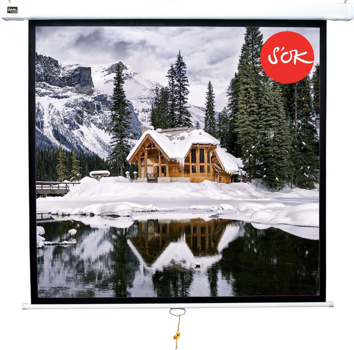 цена на Экран проекционный Cinema S'OK SCPSW-150x150 1:1 настенно-потолочный, белый