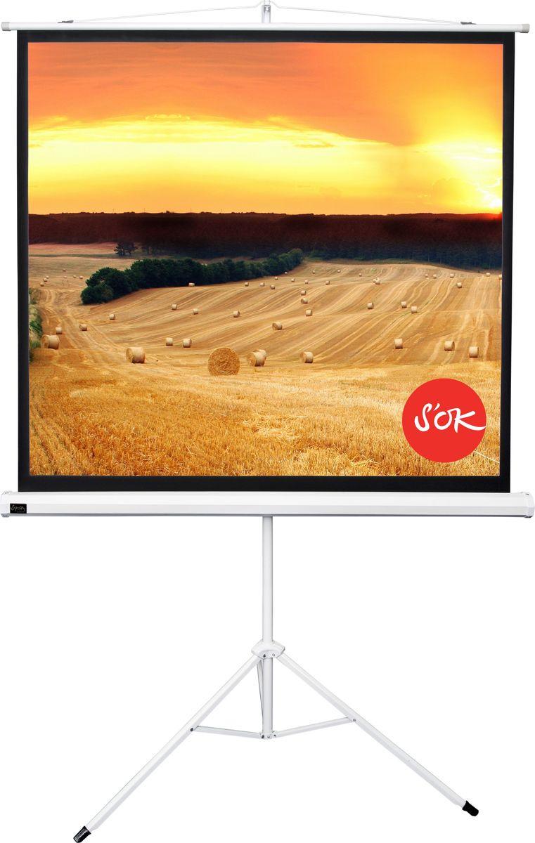 цена на Экран проекционный Cinema S'OK SCPST-158x158 1:1 напольный, белый