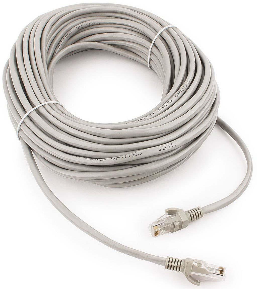Кабель патч-корд UTP Cablexpert RJ-45, 20 м, PP12-20M, серый кабель патч корд utp cablexpert rj 45 5 м pp12 5m bk черный