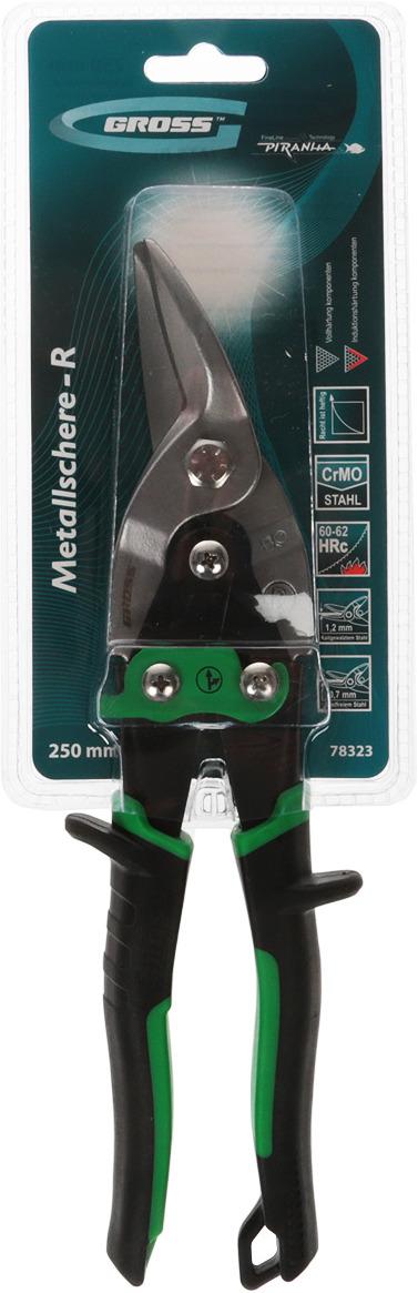 Ножницы по металлу Gross Piranha, 78323, черный, зеленый, прямой и правый рез, 25 см ножницы по металлу прямой рез 250 мм кедр 033 5053 46730