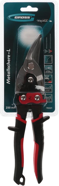 Ножницы по металлу Gross Piranha, 78321, черный, красный, прямой и левый рез, 25 см ножницы по металлу прямой рез 250 мм кедр 033 5053 46730