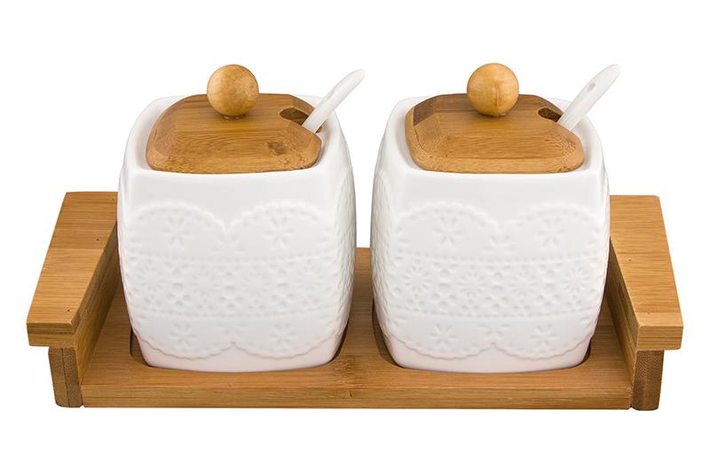 Набор 2 сахарниц 400 мл 24,5х10х11 см Elan Gallery Белое кружево с ложками и подставками