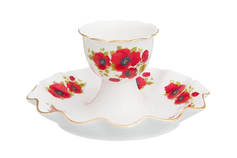 Подставка для яйца Elan Gallery Маки, белый, красный подставка под яйцо home queen орнамент цвет белый красный