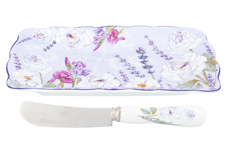 Тарелочка под масло 17х10х2 см Elan Gallery Лавандовое настроение, нож, NEW BONE CHINA