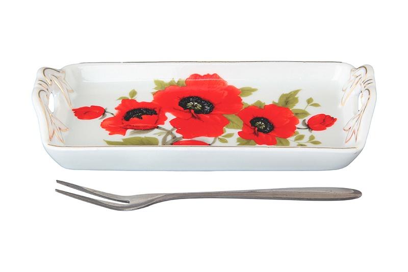 Тарелка Elan Gallery Маки, белый, красный все цены