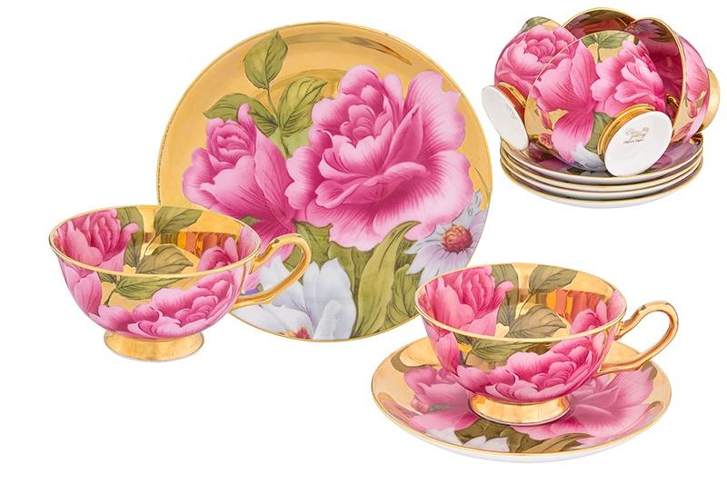 Набор чайный Elan Gallery Пионы на золоте, розовый, зеленый цена