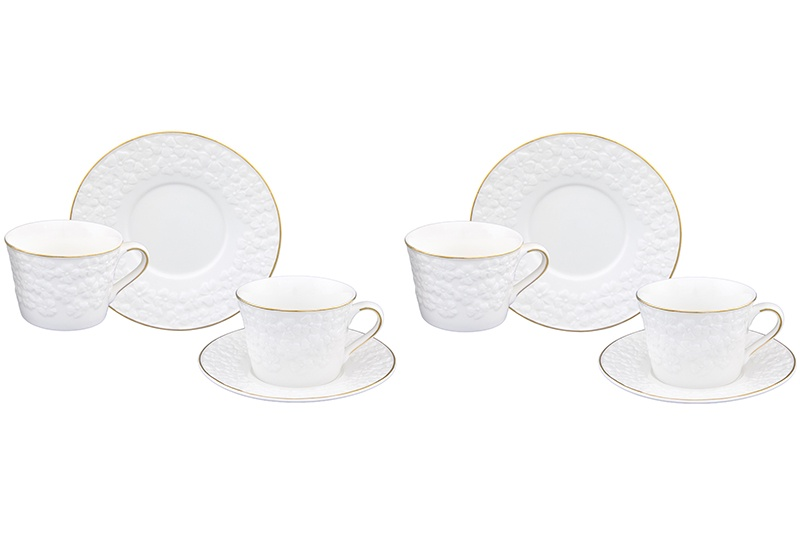 Чайная пара 4 предмета 210 мл Elan Gallery Белоснежные цветы (2 набора)