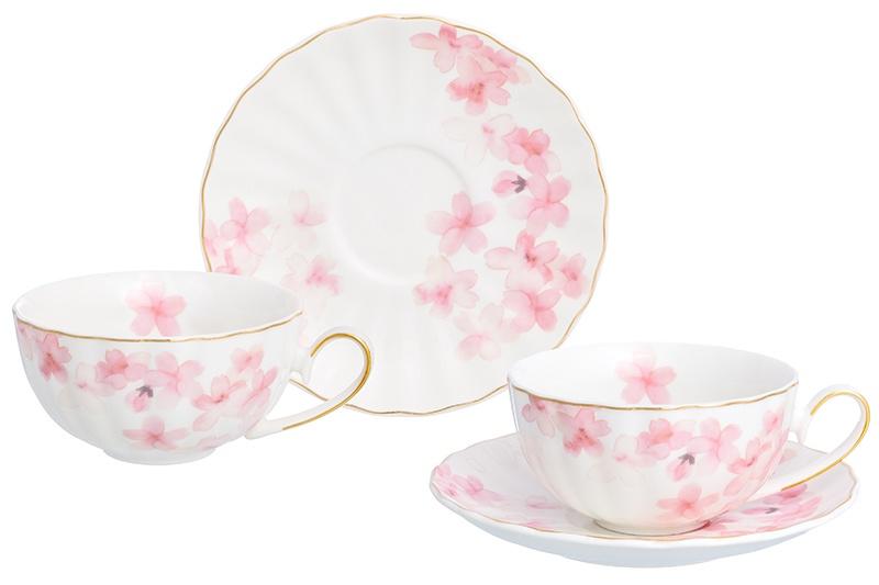 Чайная пара Elan Gallery Цветущая сакура, белый, розовый