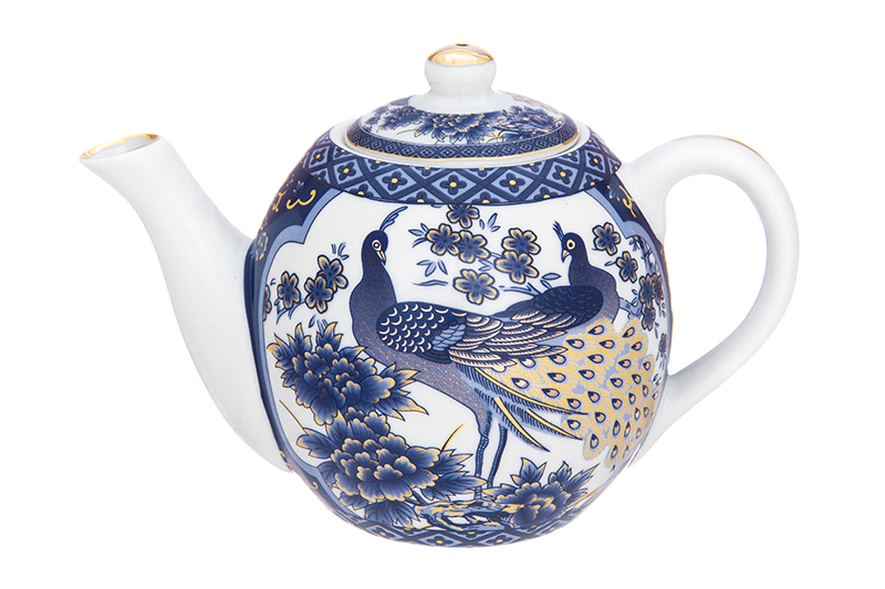 Чайник заварочный Elan Gallery Павлин синий, синий, белый цена