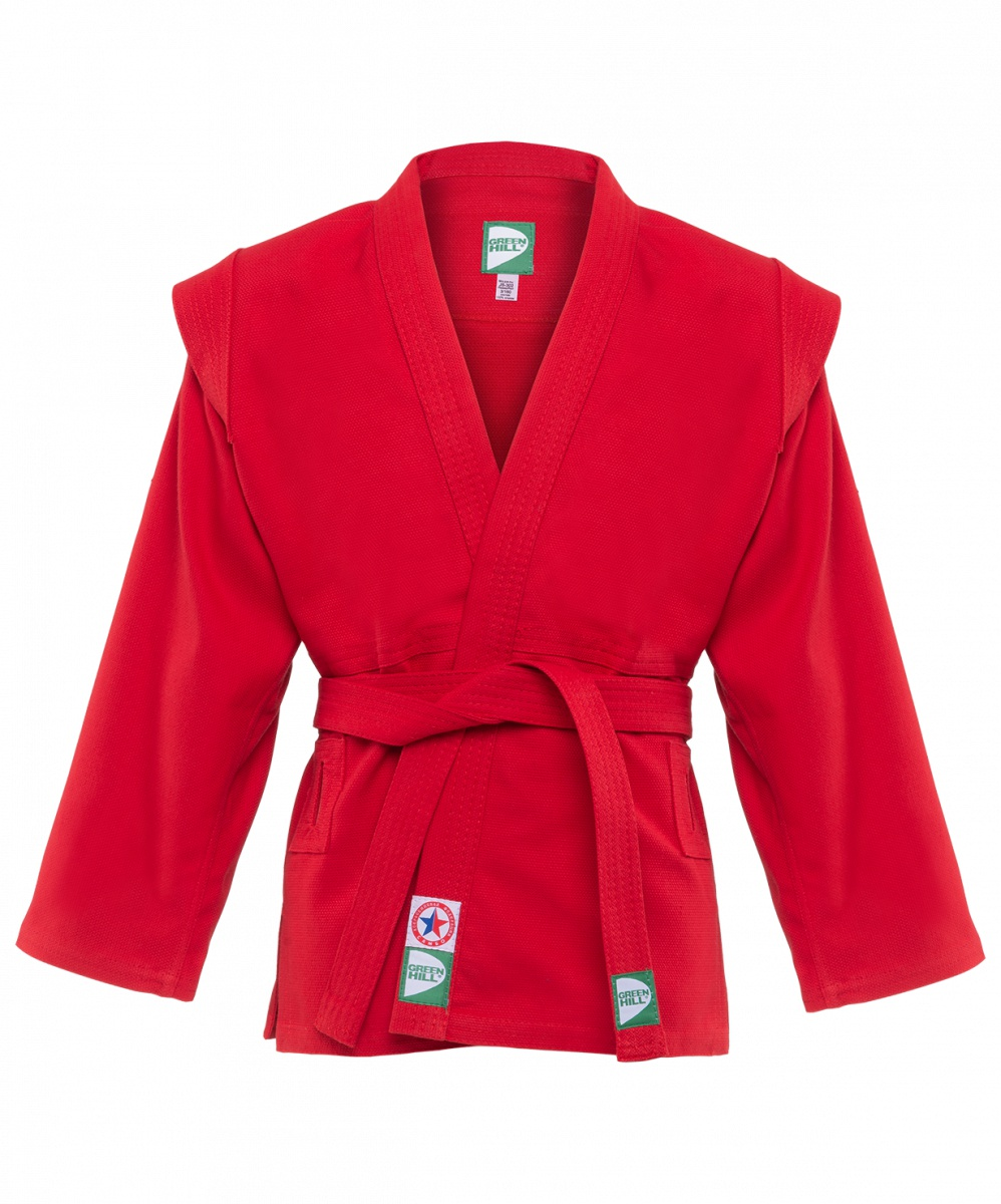 Куртка для самбо Green Hill4680019137667Куртка для самбо JS-302 предназначена для регулярных занятий единоборствами. 100% хлопок. Классический крой с боковыми разрезами и глубоким запахом, без подкладки. Плотный простроченный пояс. Для повышения износостойкости и продления срока службы одежды боковые швы куртки укреплены дополнительными строчками. При окраске применяется 100% природный краситель, не оставляющий следов при интенсивном использовании. Данная куртка одобрена и соответствует всем параметрам Всероссийской Федерации Самбо. Высокое качество изделия. Удобно сидит на теле и фиксируется поясом. Модели JS-302 и JS-303 различаются плотностью ткани. Характеристики: Материал: 100% хлопок Плотность: 380гр/м2 Комплектация: куртка, пояс Цвет: красный Производство: Россия