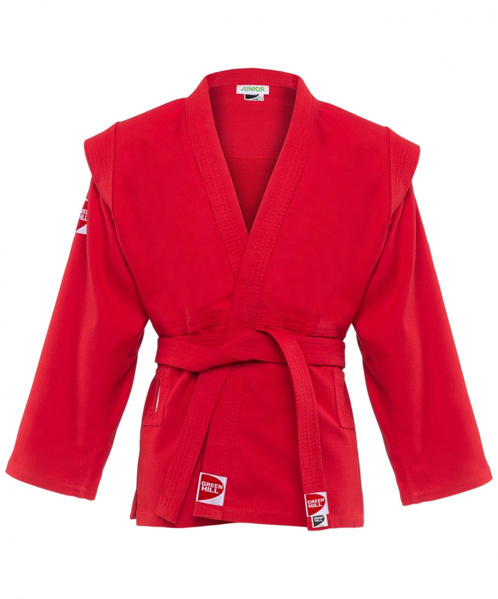 """Куртка для самбо Green Hill, красный 150 размер8971227120418Детские и юношеские куртки для самбо GREEN HILL JUNIOR изготовлены из плотного хлопка (плотность 350 г/м2) с плетением """"ёлочка"""". Куртки с глубоким запахом, боковыми разрезами и длинным рукавом. На изнаночной стороне для максимального комфорта до линии талии предусмотрена хлопковая подкладка. Боковые швы, края рукавов и полочек, низ изделия укреплены дополнительными строчками. Модель укреплена в подмышечной области. В области верхней части спины модель имеет особые прорези, в которые вставляется пояс, на плечах добавлены выступающие """"крылышки"""", предназначенные для выполнения захватов. Длинный плотный пояс укреплен многорядной прострочкой. Инструкция по уходу: ручная или машинная стирка до 30°C, гладить при средней температуре (до 150°C), не отбеливать, не отжимать на центрифуге. Характеристики: Материал:100% хлопок Плотность:350гр/м2 Подкладка: хлопок Комплектация: куртка, пояс Цвет:красный Производство:Россия"""
