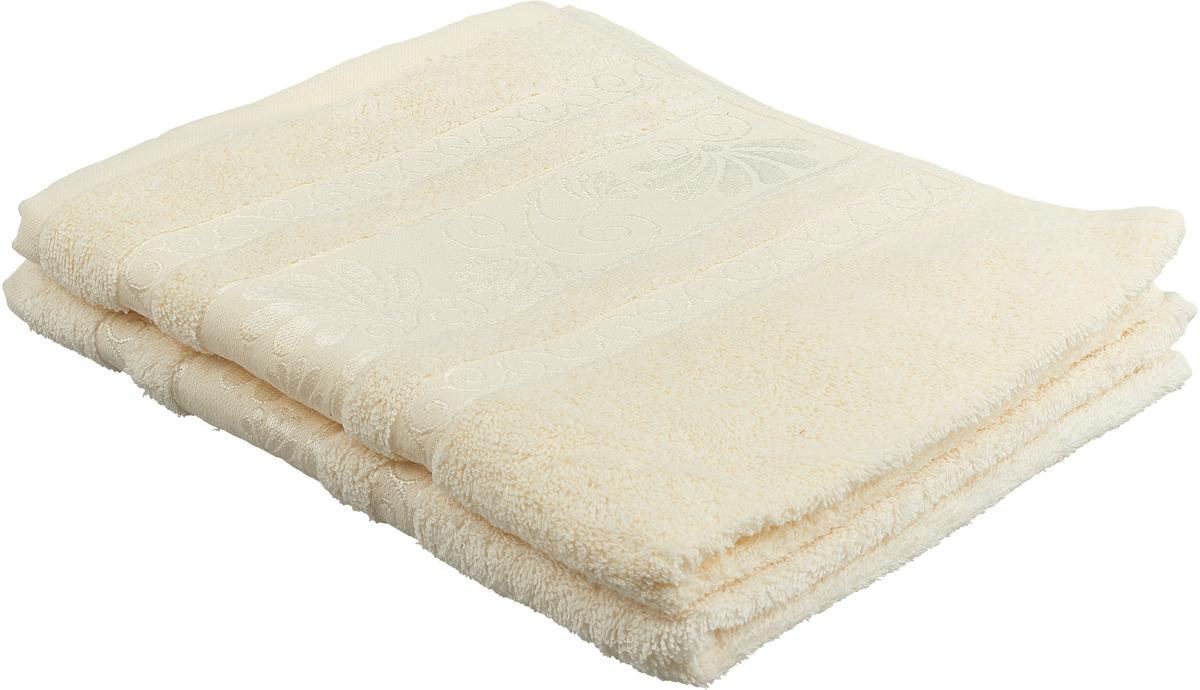 Фото - Набор махровых полотенец Tete-a-tete Цветы, цвет: молочный, 50 х 90 см, 2 шт. УП-005-02-2 набор полотенец tete a tete лабиринт цвет зеленый 50 х 90 см 2 шт уп 009