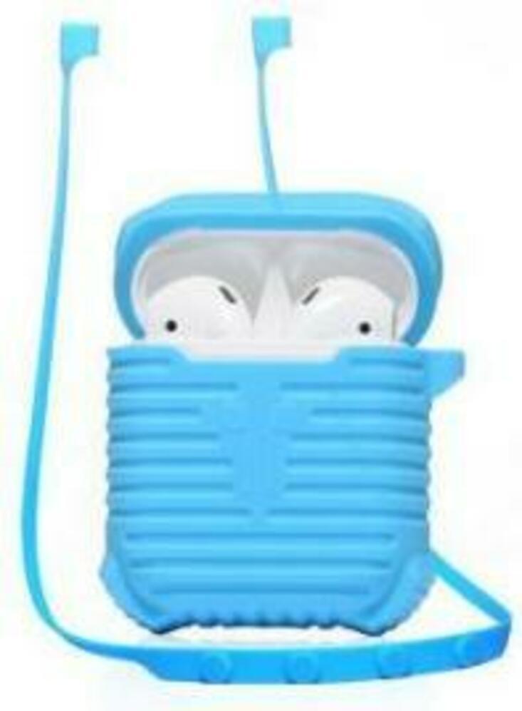 Чехол для наушников COTEetCI Case & Line (CS8108) для Airpods, голубой держатель для наушников wrapster blue голубой
