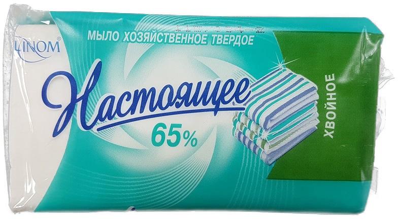 """Мыло для стирки LINOM(БЕЛАРУСЬ) """"Настоящее"""" 65%. Отбеливание без хлора. Хвойное. 140 грамм."""