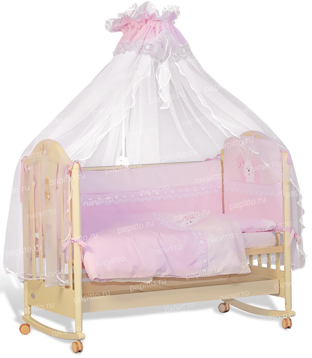 Комплект постельного белья Сладкий сон Розовый 7 предметов 7028 комплект постельного белья детский bonne fee опдр 110х140 3 розовый
